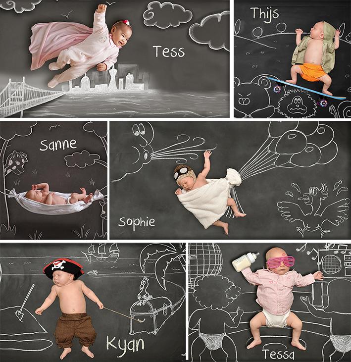 Geboortepost-collage