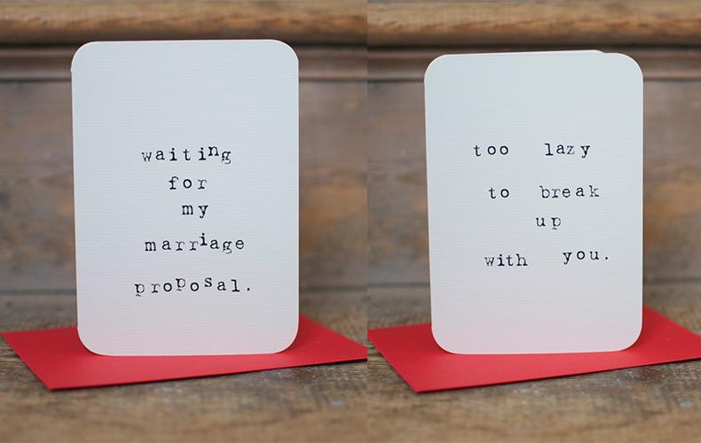 Valentijnskaarten om je lover mee op stang te jagen
